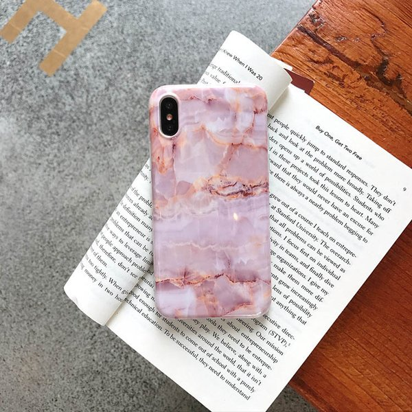 Pink Glossy Marble Mobile Phone Cover Marble Chrome TPU Case Foil Bling Marble Phone Case for Apple 7 8PLUS XR X MAX