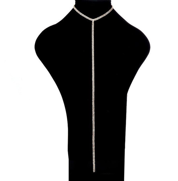 Rhinestone Choker Necklace 2019 Women Multi Row Crystal Statement Necklaces Chokers Long Pendants Luxury Chocker
