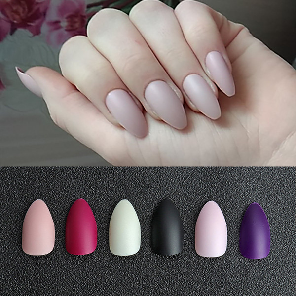 Matte Fake Nail Art Tips Nep Nagels Press On Nails Long Stiletto Artificial False Nails Manicure Nail Forms For Extension Young Nails Natural Nails