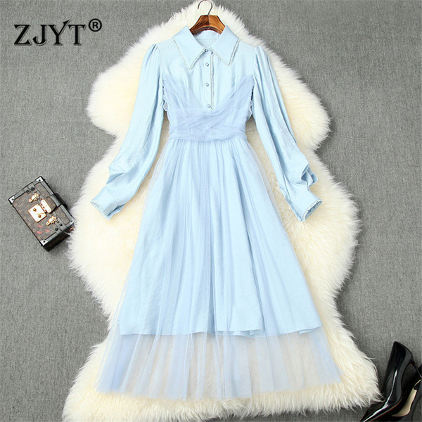new arrival spring dresses for women 2020 fashion long sleeve shirt collar tulle patchwork aline mid calf casual dress vestidos