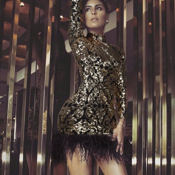 2019 Black gold long sleeve feather embroidery dress summer autumn spring Sexy evening Party Bodycon wholesale womens clothin