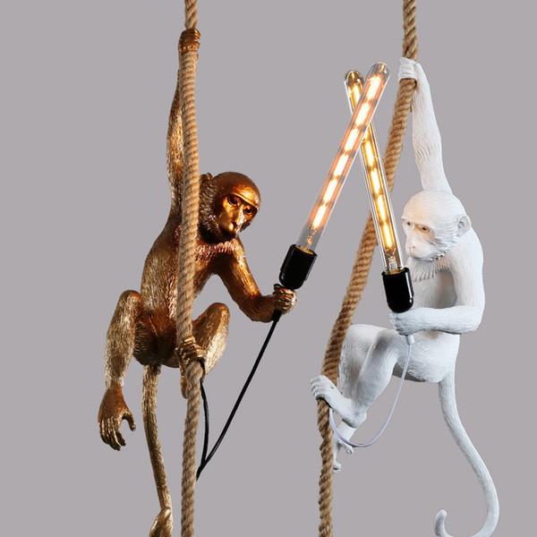 Modern Golden Resina Branca Pingente de Macaco Lâmpada de Suspensão Loft Hemp Rope Pingente de Luz para Casa Iluminação
