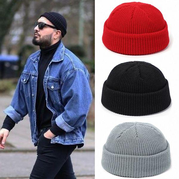 best selling Knitted Hats for Women Skullcap Men Beanie Hat Winter Retro Brimless Baggy Melon Cap Cuff Docker Fisherman Beanies Hats