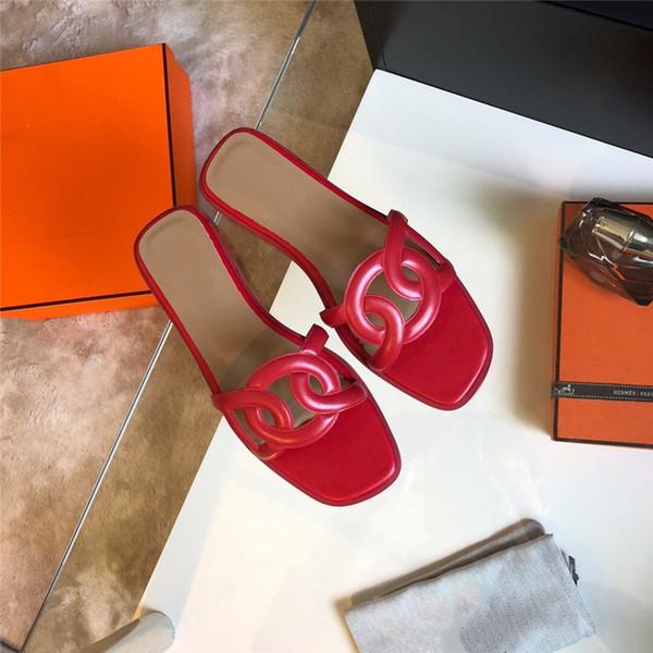 Mulheres Sapatos de Grife Sandálias Das Mulheres Chinelo De Couro Moda Azul Vermelho Preto Chinelos Com Caixa de Tamanho 35-41