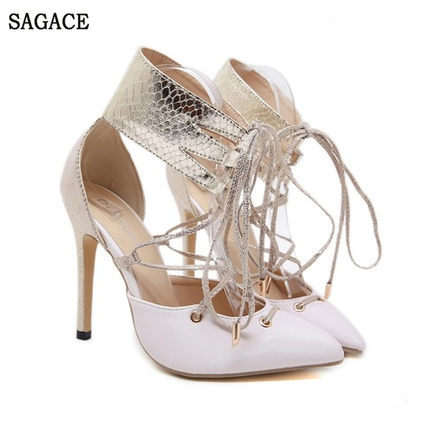 SAGACE Women's Summer Fashion Casual Lace Roman Snake Tip Stiletto Sexy High Quality Outsid Ladies High Heel Shoes