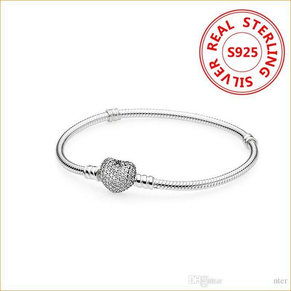 Authentiques 925 breloques en argent sterling Coeur Bracelet Pandora Perles européennes Bangle mariage bijoux cadeau pour les femmes avec la boîte originale