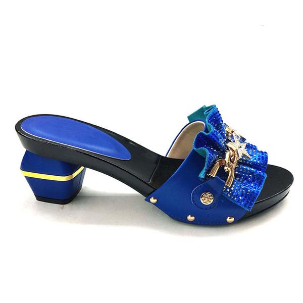 Chegada nova Bombas Africanas Sapato de Verão de Salto Alto de Alta Qualidade Sandálias Africanas Bombas de Salto Alto Cor Azul Royal Africano Mulheres de Casamento