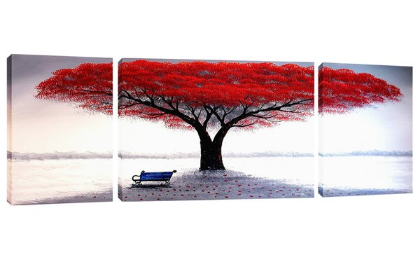 Unframed 3 Pieces River Bank Red Tree Landscape Picture Modern Art Decorative Artwork Canvas Wall Paintingfor Home Living Room Decor