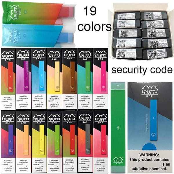 19 цветов Puff Бар Одноразовые устройства Бобы Puffbar Vape Ручки 280mAh Аккумулятор 1,3 мл Телеги E Сигареты Пусто Vape Картриджи Упаковка Vs поп