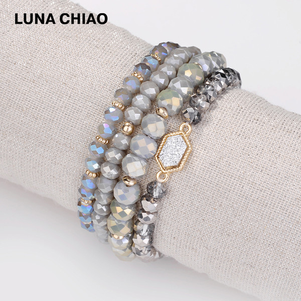 LUNA CHIAO Fashion Stretchable 6 colors Crystal Beaded Strand Bracelets Pack Set Lot Bracelet
