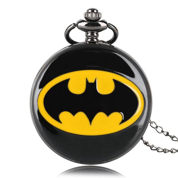 Superhero Fashion Black Batman Orologio da tasca al quarzo Collana a catena Casual Numero romano Smooth Jewelry Pendente Regali di lusso per uomo Donna Bambini