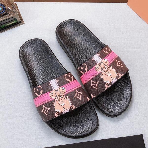 Com Caixa de Melhor Qualidade Chinelos Sandálias Slides Chinelos Sandálias Sapatos de Grife Huaraches Flip Flops Scuffs Para O Homem Mulher por bag07 L619 5-13