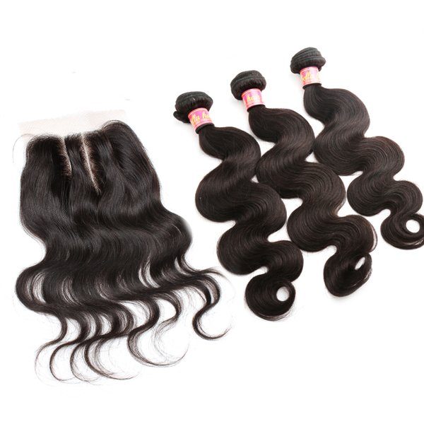 top popular Bella Hair® Brazilian Hair Bundles with Closure 8-30 Double Weft Human Hair Extensions Hair Weaves Closure Body Wave Wavy Julienchina 2020