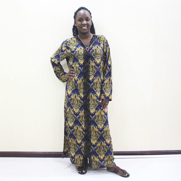 Abito da donna a maniche lunghe in pizzo di cotone con stampa scollo a V in tessuto africano di pizzo