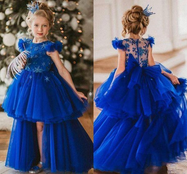 Royal Blue Little Girls Party Pageant Robes 2020 See Through Lace Retour Volants Cap manches hiérarchisé Salut-lo princesse robe fille fleur AL4183