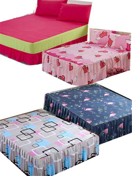 Yeşil ve beyaz kareli pamuklu yatak etek flamingo çarşafları çeşitli stillerde yatak örtülerini seviyorum