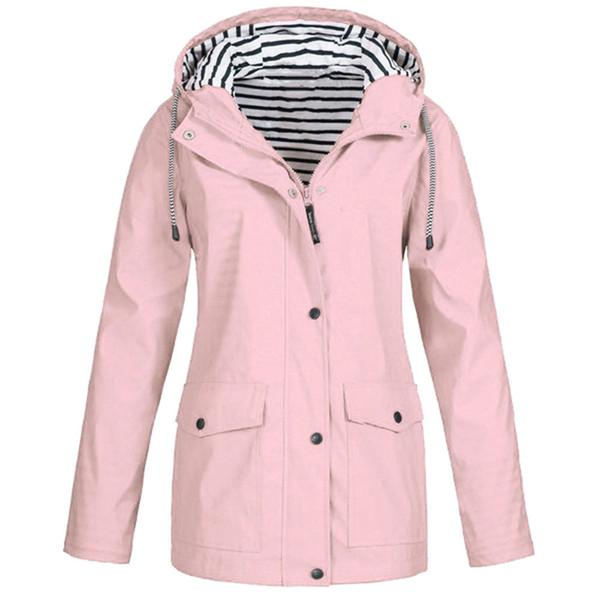Autumn Winter Trench Coat Windbreaker Women Solid Rain Jacket Outdoor Plus Waterproof Hooded Raincoat Windproof Jacket Plus Size