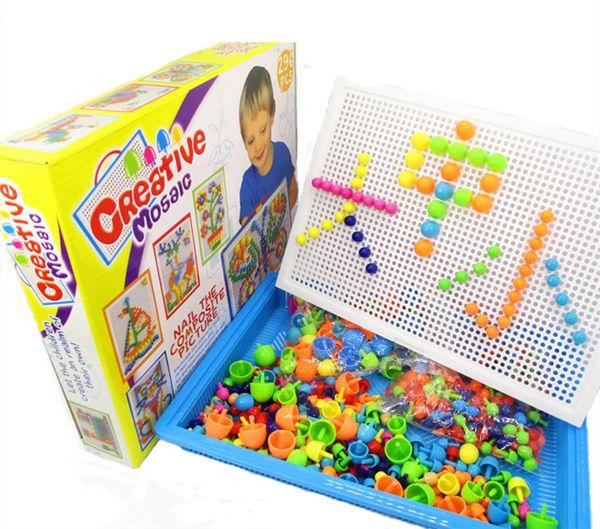 296Pcs Mushroom Nails Jigsaw Puzzle Game Creative Mosaic Pegboard Educational Toys basket+Pegboard+296pcs nails sets baby toy