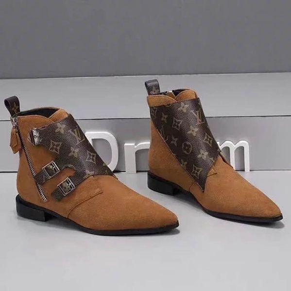 2019 Novo Designer de Mulheres Jumble Ankle Boots Preto Marrom Camurça De Couro Das Mulheres Vestido de Inicialização 19ss Botas Casuais Com Caixa de Moda
