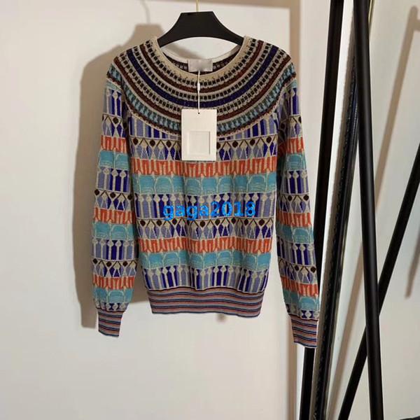high end women girls knit wool sweater sweatshirts geometric crew neck long sleeve blouse shirt paris fashion design luxury pullover tops