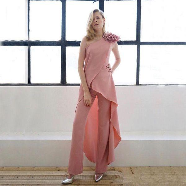 Pembe Bir Omuz İki Adet anne Gelin Takım Elbise Şifon Kolsuz El Yapımı Çiçek Örgün Kıyafet Kadınlar için Rahat Giysiler