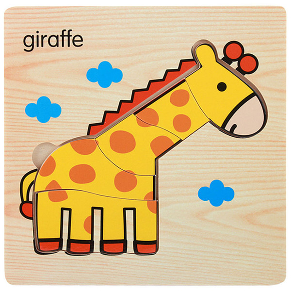 best selling 1Pcs Cartoon Wooden Animal and Transportation 3d Puzzle Jigsaw Wooden Toys For Intelligence Kids Baby Early Educational Toy