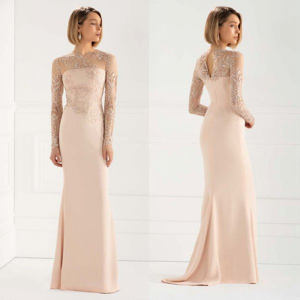 Elegant Lace Mermaid Mother Of The Bride Dresses Sheer Jewel Neck Long  Sleeves Evening Gowns Satin Plus Size Wedding Guest Dress Mother Of The  Bride ...