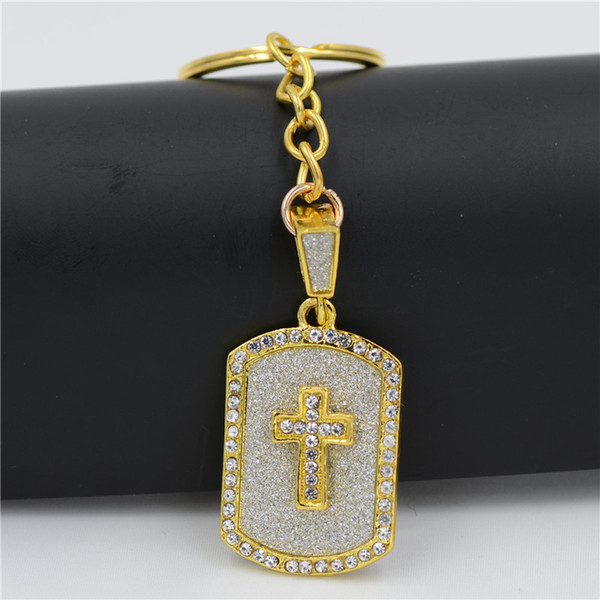 Hip hop Cross Gold Chain Keychin Keyring Crystal Male Chunky Necklace Friendship Keychain Collier Homme Bliing Hip Hop Jewelry