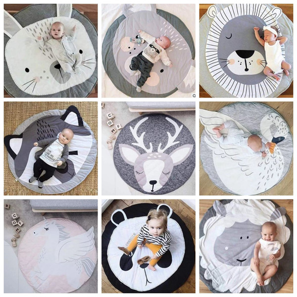 top popular Baby Play Mats INS Infant Crawling Blankets Round Floor Rug Baby Bedding Animal Blanket Cotton Game Pad Kids Room Decor Photo Props DHW3274 2021