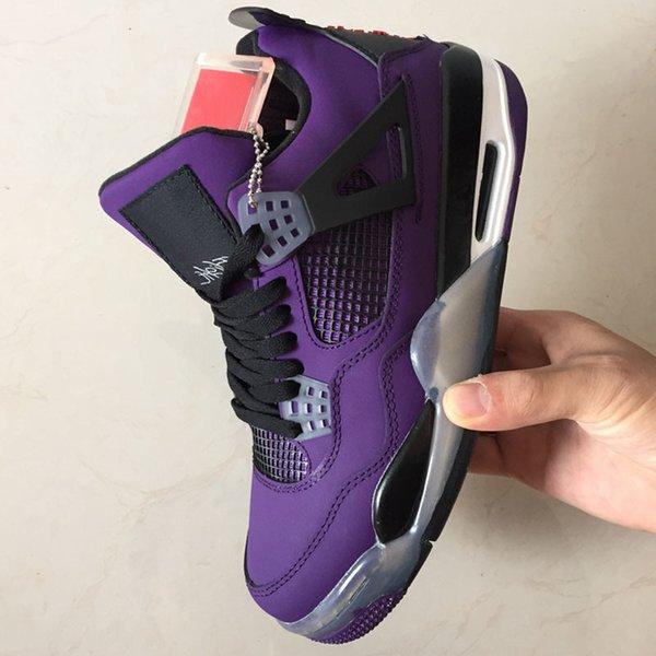 Скоттс Трэвис X 4 4S Кактус Джек Iv Фиолетовый Синий Баскетбол Обувь Спортивные Кроссовки Аутентичные Баскетбол Обувь Размер Us 40-47