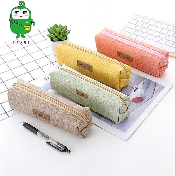 TOPSTHINK Étui à crayons design personnalisé sac en toile mignonne sac à crayons grande capacité contracté cas pour étudiant