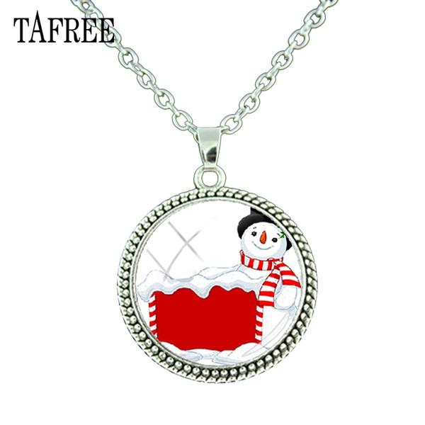 TAFREE Santa Claus Diy Pendant Necklace Handmade Simple Fashion Jewelry Necklace Christmas New Year Gift J181-25