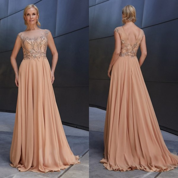 Elegant Mother Of The Bride Dresses A Line Sheer Bateau Neck Lace Beads Cap Sleeves Wedding Guest Dress Chiffon Evening Gowns For Mother