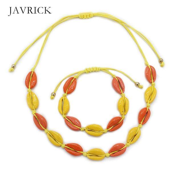 2 pcs/set shell necklace bracelet adjustable beach choker fashion anklet bracelets boho surfer women lady girls jewelry