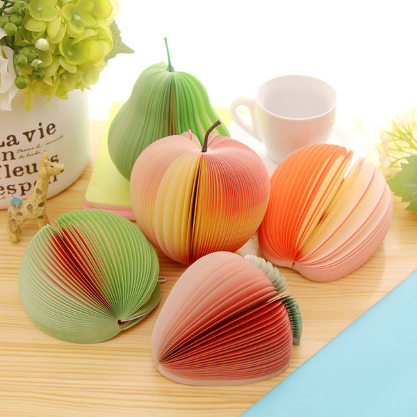 Creative Fruit Shape Notes Paper Cute Apple Lemon Pear Notes Strawberry Memo Pad Sticky Paper Pop Up Notes School Office Supply DBC DH1436