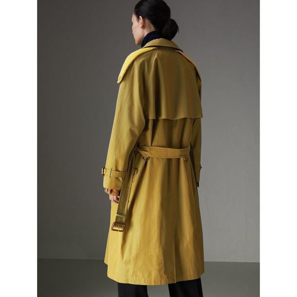 Windbreaker Women's Long Jacket Belt Slim Fit Waterproof Top Solid Color Double-breasted British Wind Autumn Winter Windbreaker
