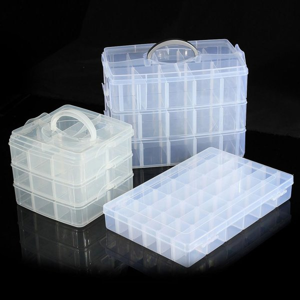 3 Layer 20 Grids Plastic Craft Beads Storage Organizer Compartment Tool Box Case Storage Boxes