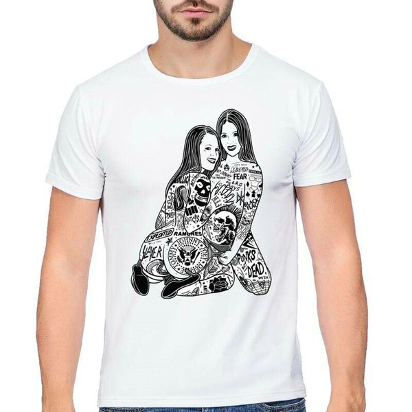 Rock t shirt All band tattoo woman short sleeve tops Hard metal fadeless tees Unisex white colorfast clothing Pure color modal tshirt