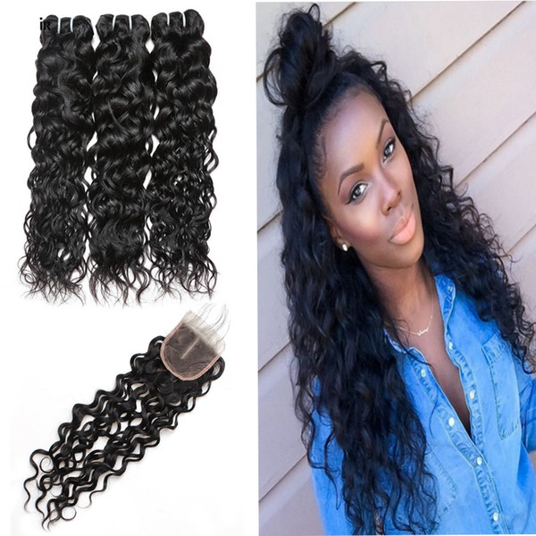 Top Selling Water Wave 3 Bundles with Closure 8A Brazilian Hair Peruvian Water Wave Malaysian Ocean Wave Indian Wet and Wavy Human Hair