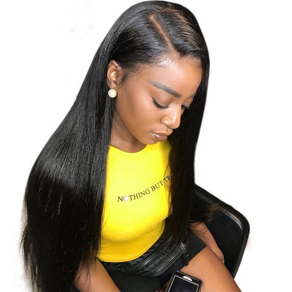 Side Part Silky Straight Virgin Human Hair Wig 130% Density Full Lace Wigs Brazilian 9A Straight Hair Lace Front Wig For Black Woman