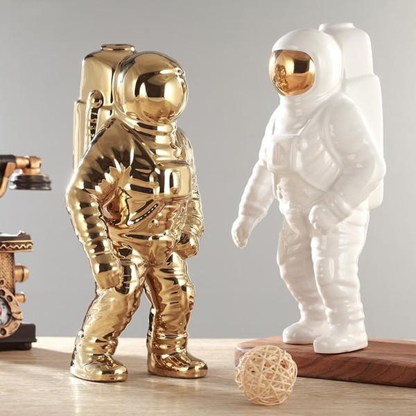 Giemza Astronauta Jarrón Modelo de Cerámica Único Astronauta Niños 1pc Flores Secas Blanco Jarrón de Cerámica Para la Decoración de la Mesa de la Herramienta Y19062803