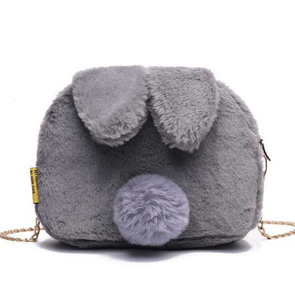 Cute Cartoon Plush Bunny Round Small Bags Women Messenger Bag Chains Mini Purse Rabbit Ears Ladies Crossbody Shoulder Bag Lovely