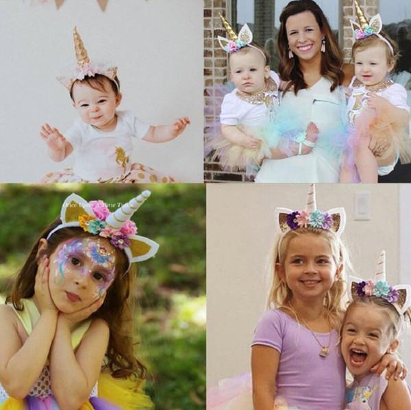 Nettes Einhorn-Mädchen-Blumen-Katzen-Ohren-Stirnband-Kinderkopfbedeckung-Foto-Props-Partei-Haar-Band-Haarbänder scherzt Haar-Zusatz-Parteigeschenk