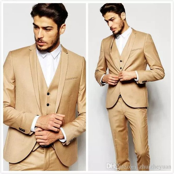 New Fashion Gold Wedding Suits Custom Made Handsome Slim Fit Men Suits Groom Tuxedos Formal Prom Suits ( Jacket+Pants+Vest)