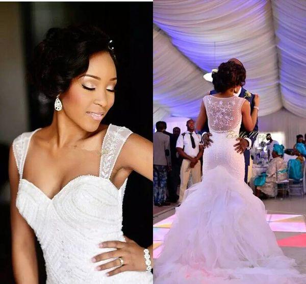 Robes de mariée sirène modestes robe de mariée 2019 blanc organza Tull voir à travers robes de train de la Chapelle chapelle Ruffles robes de mariée pas cher