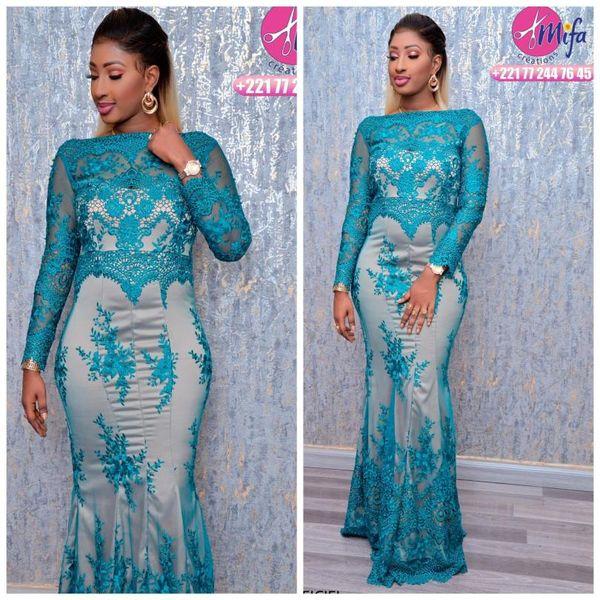 Hunter Green Lace 2019 vestidos de noche africanos Crew Mermaid Manga larga Vestidos de baile Fiesta formal formal Vestido de dama de honor Vestidos ZJ146