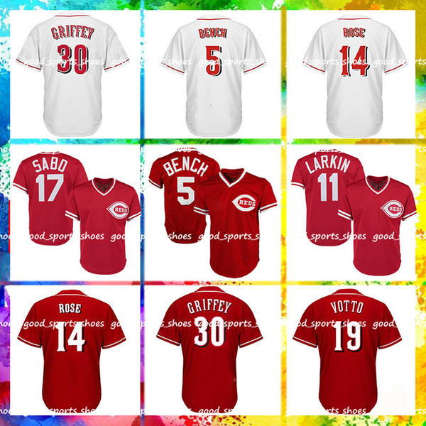 size 40 6db81 ec0bb 2019 Cincinnati Reds Majestic Coolbase Jersey 5 Johnny Bench Jersey 11  Barry Larkin Jersey 19 Joey Votto 14 Pete Rose 17 Chris Sabo 30 Ken Griffe  From ...