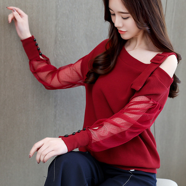 Sólido Outono Mulheres Camisa Blusa Roupas Femininas Moda Feminina Blusas Camisa de Manga Longa Mulheres Sexy Fora Do Ombro Top 1224 40