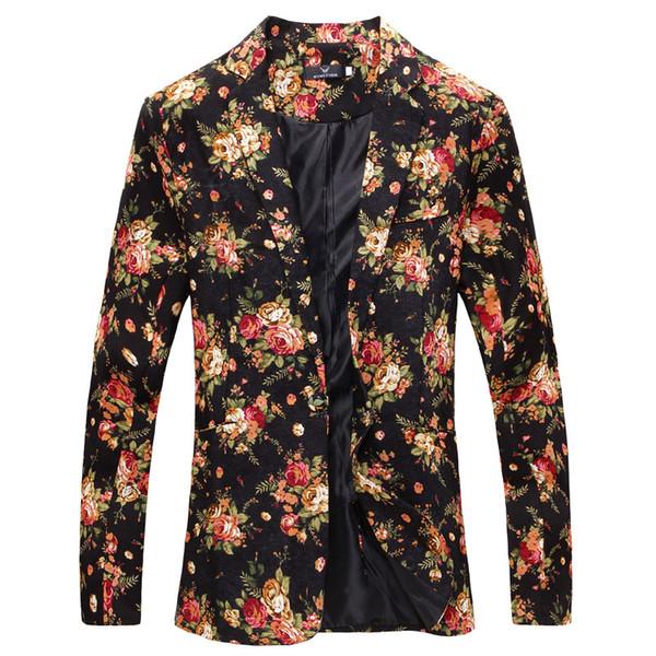 Erkek Blazers İş Yeni Çiçek Moda Blazer Ceket Erkek Takım Elbise Kişilik Benzersiz Stil Erkek Casual Suit ceket Geldi