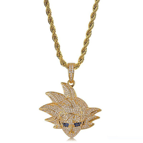 Dragon Ball Goku collier pendentif hommes Full Diamond Zircon Ice Out Anime Hiphop Bijoux 18K plaqué or Hip Hop Colliers